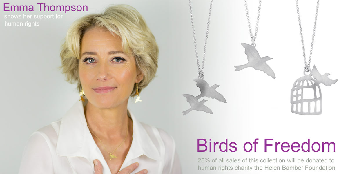 Emma Thompson wears Oria Jewellery for the Helen Bamber Foundati